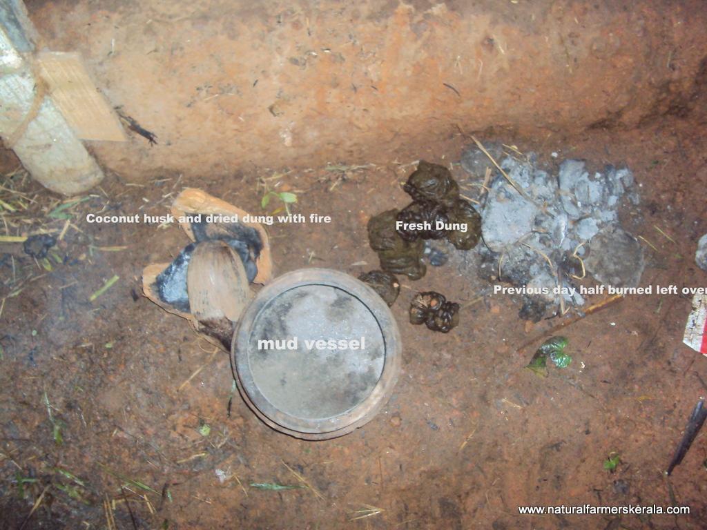 mud vessel, coconut husk, dried and fresh dung to create smoke